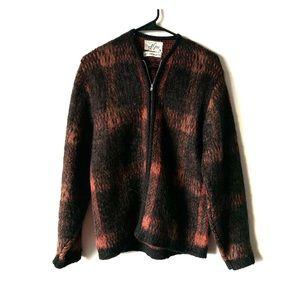 Vintage 50s virgin wool grunge plaid cardigan